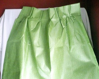 Vintage Brillant Green Texture Thermal Lined Pinch Pleat Draperies, 82 x 63, green curtains, green drapes, pinch pleat, draw draperies