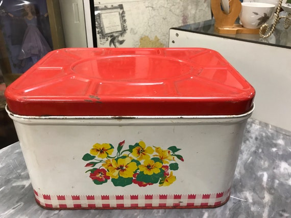 metal breadbox red and white