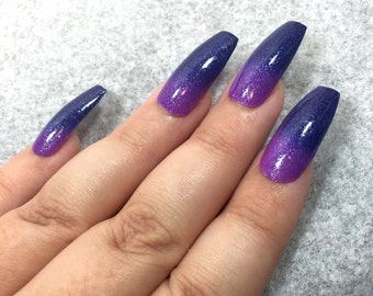 Blue Purple Nail Polish - Color Changing Thermal Mood Polish - Iolite Coast from Crystal Knockout - Reduced Chemical 5-Free (15mL Full Size)