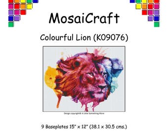 MosaiCraft Pixel Craft Mosaic Art Kit 'Colourful Lion' (Like Mini Mosaic and Paint by Numbers)
