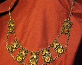 RESERVED Neiger Brothers Tangerine Dot and Leaf Art Deco Czech Glass Enamel Necklace