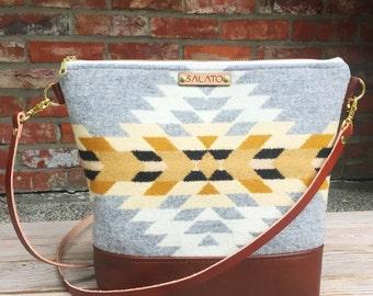 Portland Wool and Brown Leather  Cross body, Crossbody Purse, Crossbody Bag, Leather Crossbody, Messenger Bag, Wool Purse,