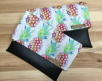 Fold over clutch, Rainbow Pineapple Clutch, faux leather clutch, vegan leather clutch, pineapple bag, handbag, summer clutch,