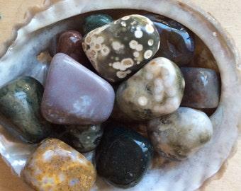 Ocean Jasper Medium Tumbled Stone, Healing Stone, Healing Crystals,Chakra Stone, Spiritual Stone