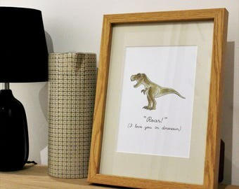 Roar! I love you in dinosaur Framed Print