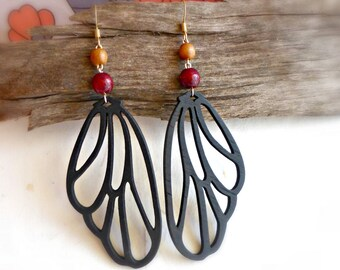 Butterfly wings wood earrings , Black painted wooden jewelry , Handmade wood gift for wife , Nature inspired gift , Romantic earrings