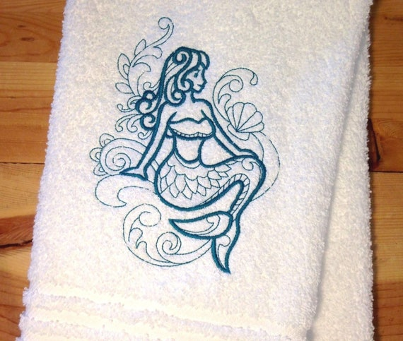 Mermaid Towel Embroidered Nautical Hand Towels Ocean