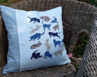CATS pillow Blue Cross stitch