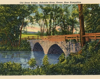 Keene New Hampshire Old Stone Bridge Ashuelot River Vintage Postcard (unused)