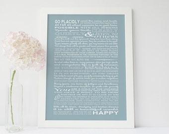 Desiderata print - desiderata poster - Max Ehrmann - typography art print - inspirational print - typographic home decor - motivational art