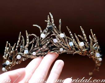 Woodland Princess Gold and black Wedding hair crown , Black Crown ,Black bridal Tiara , Baroque crown,Gothic Tiara Evil Queen crown