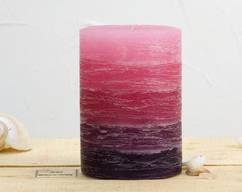 """Pink and Purple Pillar Candle - Layered Rustic - 3 x 4"""" - Burgundy - Hostess Gift - Rustic Wedding Candles - Not Scented Candle Gift"""