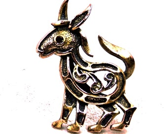 Vintage, Goat Brooch with Red Rhinestone Eye and Paisley Internal Organs, Figural Pin, 10.00 and Under, Gift