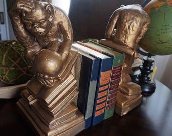 FREE SHIPPING, Vintage, Darwin Monkey Chalkware Bookends