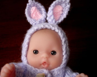 "Lots To Love, Berenguer, Tiny Easter Bunny Doll - Too Cute For Words Baby - 5"" Tall - Lavender Hand Knit Bunny Outfit"