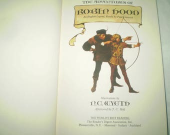 Vintage Robin Hood- the Adventures of Robin Hood- N.C.Wyeth illustrations- Paul Crestwick original text-318 pages- Hardcover