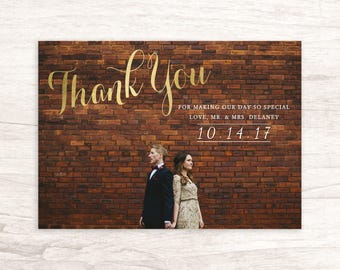 Sweet Wedding Thank You Card With Photograph