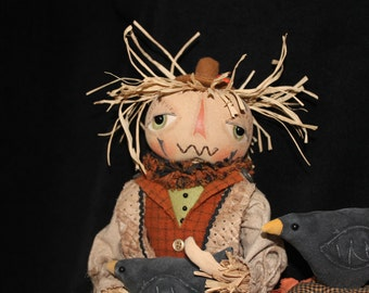 Halloween Fall Primitive Scarecrow Doll Carly Smith Boggy Bottom Bayou
