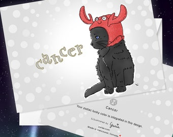 Cancer Cat zodiac sign + lucky color cards Greeting Card (5x7 size) Cat astrology, black cat, blue eyes, Turkish Angora, American shorthair