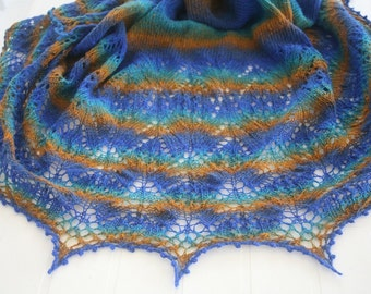 100% Wool Hand Knitted Shawl. Ready to Ship. Free Shipping.