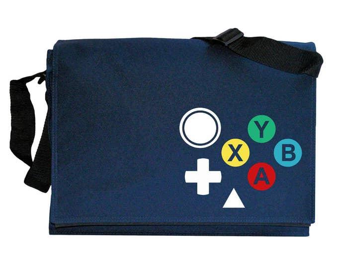Dreamcast Joypad Controller Buttons Navy Blue Messenger Shoulder Bag