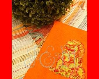 Embroidered Chinoiserie Female Foo Dog Hand Towel