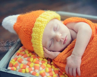 Candy Corn Baby Hat • Halloween Baby Hat • Candy Corn Newborn Hat • Fall Baby Hat • Autumn Baby Hat • Baby Shower Gift