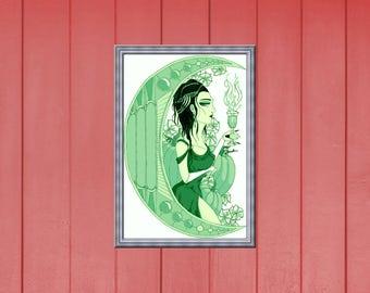 "Digital Art- ""Samhain"" (Absinthe Green)"