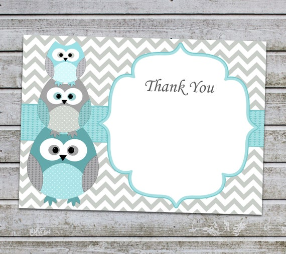 Owl Thank You Cards Owl Boy Baby Ser Thank You Notes