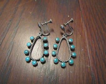 Zuni Green Turquoise Drop Sterling Earrings