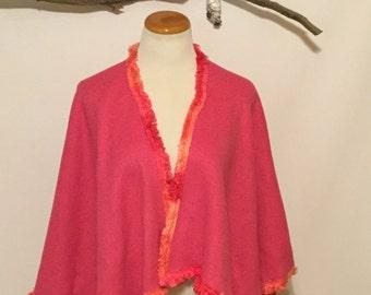 Pink Fleece Poncho/Cape