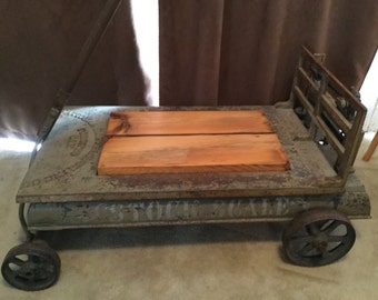 Antique Industrial Farm Stock Scale Coffee Table