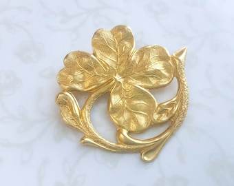 Four Leaf Clover Brooch, Gold Brass, Irish Lapel Pin, Lucky St. Patrick's Day, Woodland, Nature, Garden, Wedding, Boho, Rustic