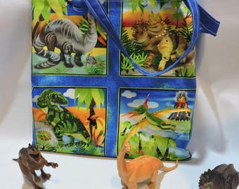 CHILDREN'S TOTES, DINOSAURS, cotton, beach bag, book bag, toy bag, overnight travel bag, cotton lining,