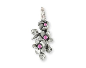 Cherry Blossom Charm Jewelry Sterling Silver Handmade Flower Charm CBL2-SC