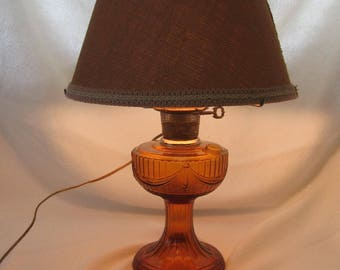 """Amber Glass Aladdin Lamp, Electric Conversion Aladdin Lamp, """"New 74 """" Amber Lamp From Made Of Flaws"""