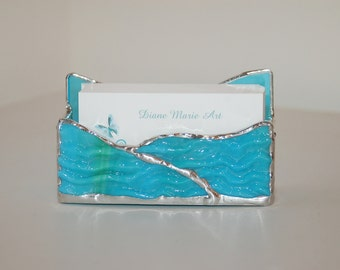 Aqua Blue Business Card Holder Hand Made to Order Using High Quality Uroboros Stained Glass with Choice of Colors