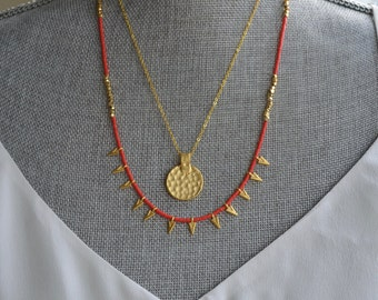 Vibrant red and gold necklace - Coral beads and gold spike necklace - Red tribal necklace