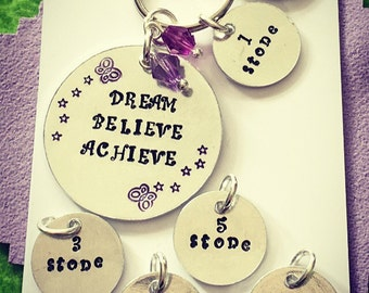 Motivational Weight Loss Achievement Tracker Keyring/Keychain Gift. Hand stamped Present for a slimmer, dieter, fitness fan. Free UK p&p