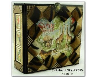 Safari Adventure, Handmade Scrapbook Album, Safari/Animal/ZOO/Wild Animals Theme Album, Keepsake Photo Album, Custom Album, Keepsake Album