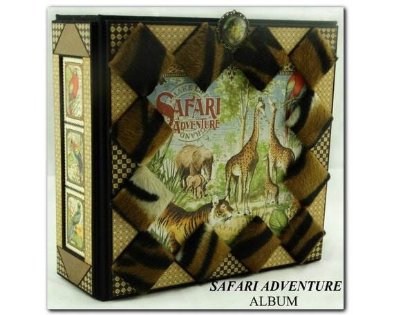 safari adventure  handmade scrapbook album  safari  animal