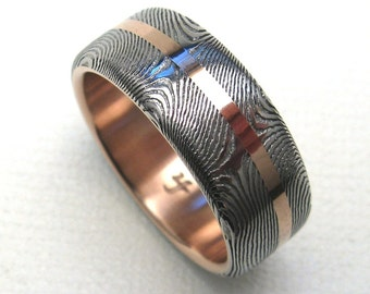 Stainless Steel Damascus Ring Lined in 14K Red Gold with Inlay