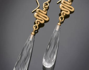 14Kt Solid Gold Clear Quartz Crystal Briolette Squiggle Earrings #ER96YG