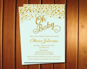 Mint and Gold Baby Shower Invitations | Boy Invite | Oh Baby Shower Invitation