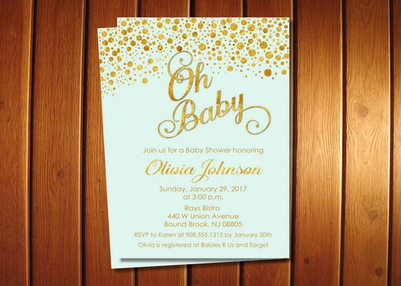 Mint and gold baby shower invitations boy invite oh baby shower il570xn filmwisefo