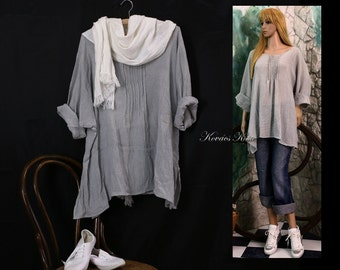 Abigel - Hand Dyed Gauze Tunic with Pintuckes Lagenlook Plus Size Shirt