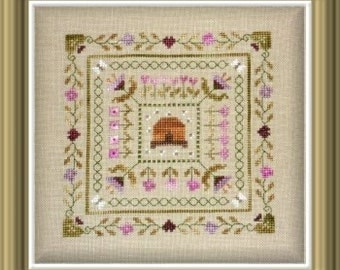 Beehive in the Garden – French counted cross stitch chart to work in 9 colours of Nina's threads. Square cross stitch.  Flowers, Garden