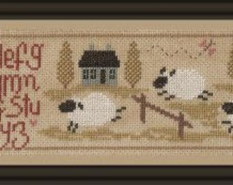 Sheep Story 2 – counted cross stitch chart to work in 10 colours of DMC threads.  ABC Sampler. Sheep Sampler.  Sheep, Houses, Alphabet.
