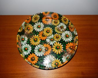 Vintage Retro Metal Serving Tray Designed by Marsh Allen with Daisy Pattern