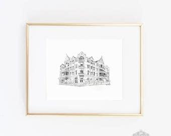 Driskill Art Print, Venue Drawing, Austin Wedding, Driskill Hotel, Driskill Wedding, Home Decor, Wedding Gift, Anniversary Gift
